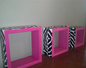 Set of 3 multi-size zebra wall cube shelves 12in 9in 7in