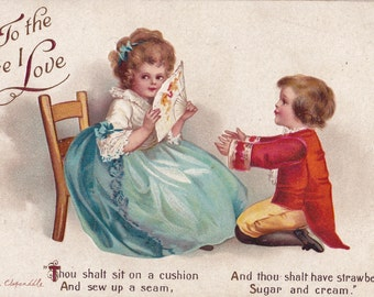 Vintage Valentine Clapsaddle Signed Postcard To The One I Love International Art