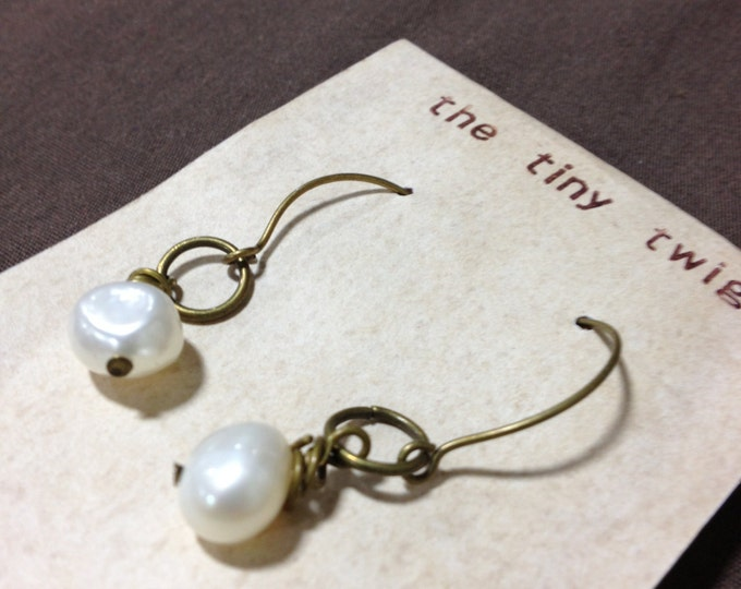 Antiqued Bronze Freshwater Pearl Earrings Jewelry
