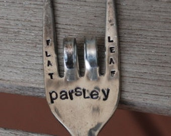 Flat Leaf Parsley hand stamped Herb Marker FORK garden art HERB