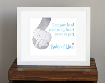 Baby Elephant Nursery Art Print - blue and gray wall art - Baby Mine, Dumbo lyrics, Disney - a mother's love, baby shower gift - 8 x 10