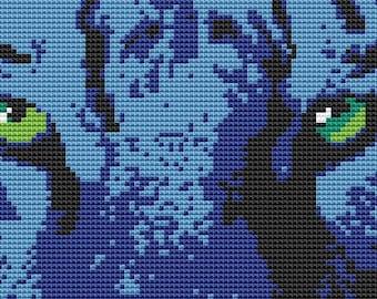 Cross Stitch Kit - Tiger Eyes - Blue Tiger