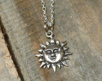 Sun Necklace - Silver Sun Charm Necklace - Sun