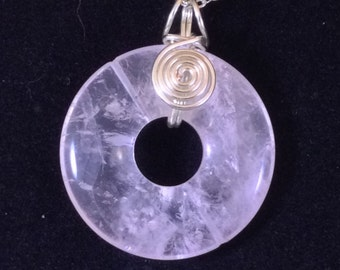 Rose Quartz Reversible Donut  Pendant with Silver-Plated Spirals and Chain
