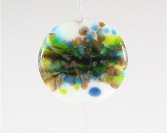 Lampwork Glass Bead Handmade Lentil Focal White Green Copper Blue SRA DUST Team LE Team