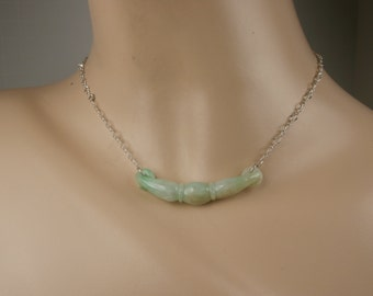 Jade and Sterling Silver Necklace, Vintage Jade Necklce, Chinese Jade