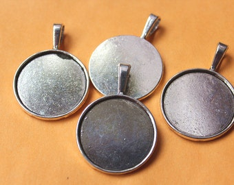 FREE SHIPPING within USA, 10 pcs Antique Silver Cabochon settings, inner tray 25mm (1 inch)