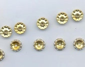12 vintage Czech rhinestone rondelles - 12 mm crystal/gold plated - asymmetric - in original packaging