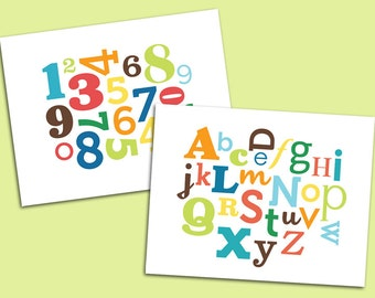 Set of 2 prints: Alphabet & Numbers art prints for baby nursery or kids room - 8 x 10