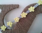 Yellow and Grey Flower Boho Headband