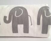 Grey Elephant Baby Blanket, white Minky