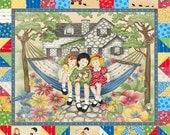 Henry Glass Fabric - Little Darlings II:Child's Play-Summer Swing-Ecru-PANEL Fabric