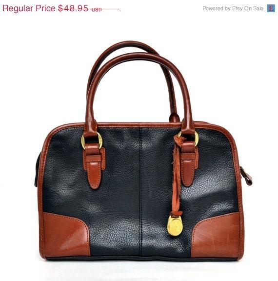 25% off 3 Day Sale Vintage LIZ CLAIBORNE Crest Brown Black Leather Handbag