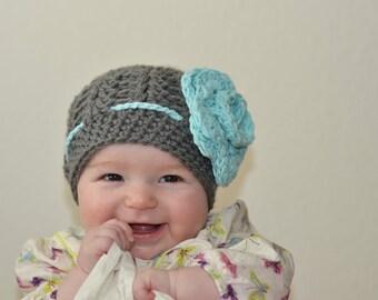girls hat, baby hat, baby girls hat, crochet baby hat, kids hat, crochet kids hat, newborn girl hat, gray hat