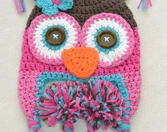 owl hat, crochet owl hat, baby hat, crochet baby hat, crochet kids hat
