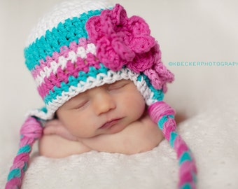 baby hat, girls hat, little girls hat, girls earflap hat, baby girl hat, pink and gray hat