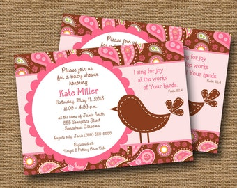 "Bird Baby Shower Invitation Baby Girl DIY PRINTABLE ""Pink & Brown Paisley"" Christian Scripture Bible Verse Card"