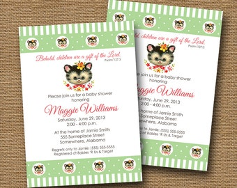 Vintage Baby Kitten Baby Shower Invitation DIY PRINTABLE Baby Animal Christian Scripture Bible Verse Card