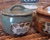Sugar bowl with lid. Green Sugar bowl. Ceramic sugar bowl. Brown sugar Bowl.