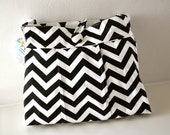 Large Pleated Diaper Bag in Black and White Zig Zag/Chevron
