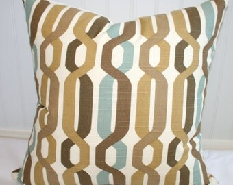 SALE / IN STOCK / Geometric Design Pillow Cover / 18 X 18 / Tan, brown, celedon, creme with natural canvas back