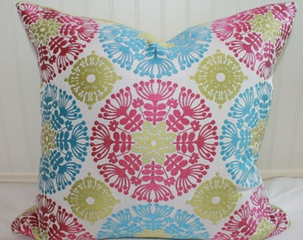 IN STOCK / Pink and Blue Suzani Pillow Cover / 22 X 22 / Pink,Blue,Green,White with Chartreuse Chenille back