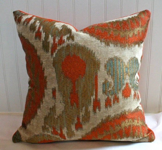 Terracotta teal gold beige ikat pillow cover 18 x 18 for Beige and gold pillows