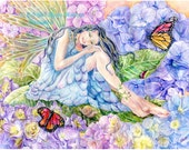 Fairy Art, Hydrangea Fairy with Monarch butterflies, lady bug and garden snail, Fairy Art print  ,11x 14 art  print