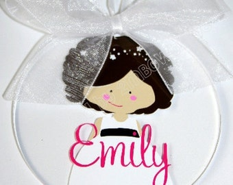 Flower Girl Ornament/Key Chain with Name. Great gift idea