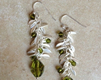 Matte Silver Leaf Chain Earrings with Olivine Swarovski Crystals