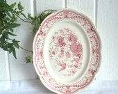 Transferware serving platter red pink Gefle Fenix pattern vintage Swedish