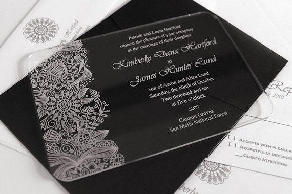 Engraved Acrylic Wedding Invitations - Fleur