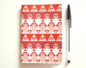 SALES LAST ONE Notebook A6 Recycled Paper Geometric Pattern Triangles and Poppies // Orange Pink Burgundy