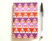 SALES LAST ONE Notebook A6 Recycled Paper Geometric Pattern Triangles and Poppies // Orange Violet Lilac