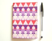 SALE LAST ONE Notebook A6 Recycled Paper Geometric Pattern Triangles and Poppies // Pale pink Violet Orange