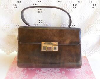 Vintage Brown Purse  1960's Handbag Single Handle Vinyl Purse Mid Century Retro