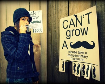 CANT GROW A MUSTACHE - 20 pack- Little Man Party- Paper Mustaches