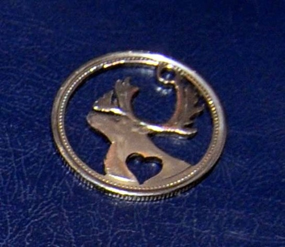 Canadian quarter - cut coin pendant - Caribou with heart. Valentine day