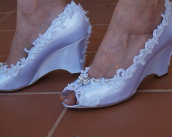 Brides Wedding Wedge Shoes Lace edging pearls crystals - Bridal Wedge shoes white or ivory, embellished, satin peep toe wedge, white lace
