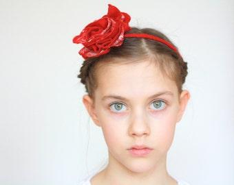 Bridal hair accessories, bridesmade, flower girl accessories - felted red / white rose flower - flower necklace, bracelet