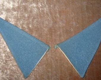 Vintage Collar Plain Blue Linen 1950's