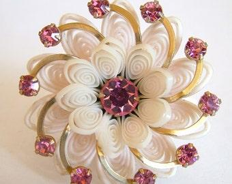 Vintage Celluloid Brooch Set Pink Rhinestones