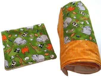 Zoo Baby Blanket with Green and Orange Cotton Fabric with Burp Cloth