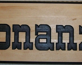 Personalized Outdoor Wood Plaque Sign Engraved Stained and Painted with a Western Font