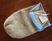 Handmade Crochet Baby Cocoon Cuddle Snuggle Sack and Beanie Hat  Set in Brown Tweed - Aprox Size Preemie to 6 months - Great as a Photo Prop