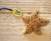 1940's Coro Starfish Brooch with Blue Stones - Marked