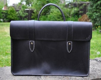Traditional handmade leather sheet music bag or laptop case