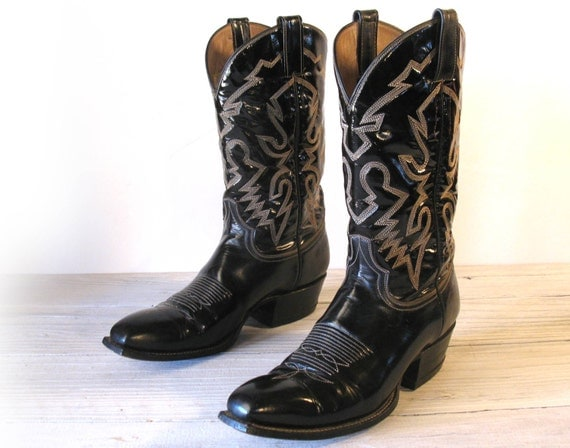 laramie made all leather black patent cowboy boots