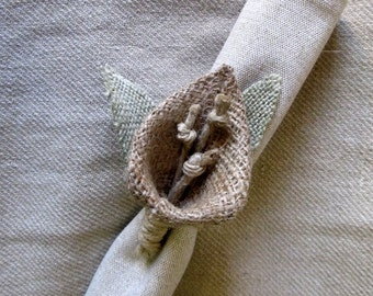 Burlap Lily napkin ring