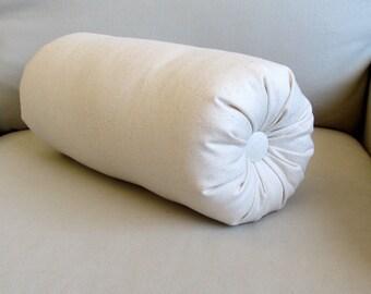 ivory cotton duck bolster pillow 14 x 6